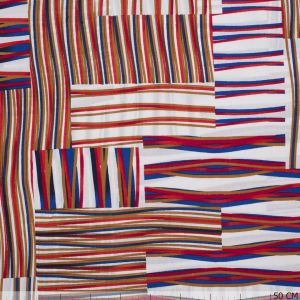 Viscose Print Lines Red-Beige