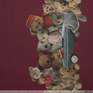 Two Side Border Teddys Deep Red